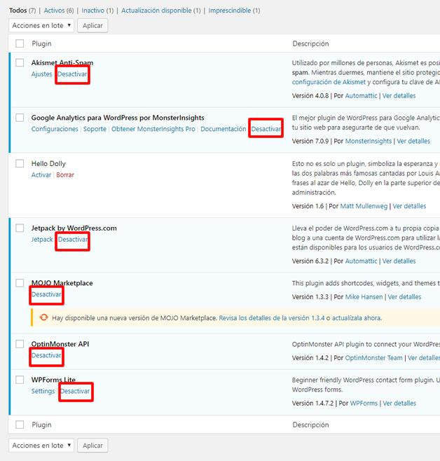 desactivar plugins wordpress en el escritorio de mi pagina web