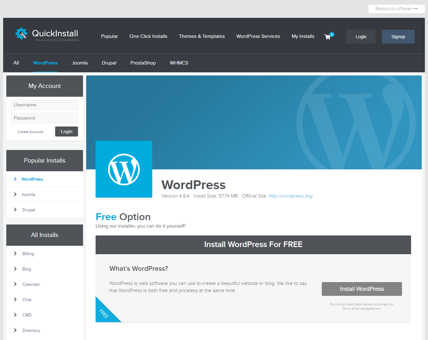 instalar wordpress en cpanel