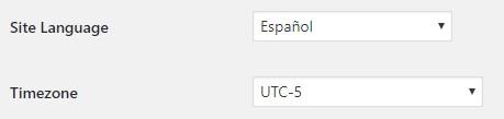 lenguaje wordpress a español y zona horaria