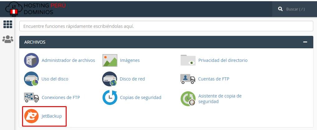 jetbackup crear respaldo en hosting